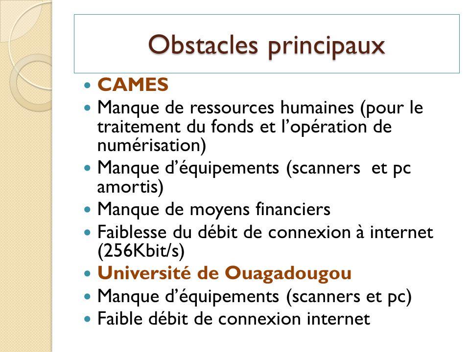 Obstacles principaux CAMES
