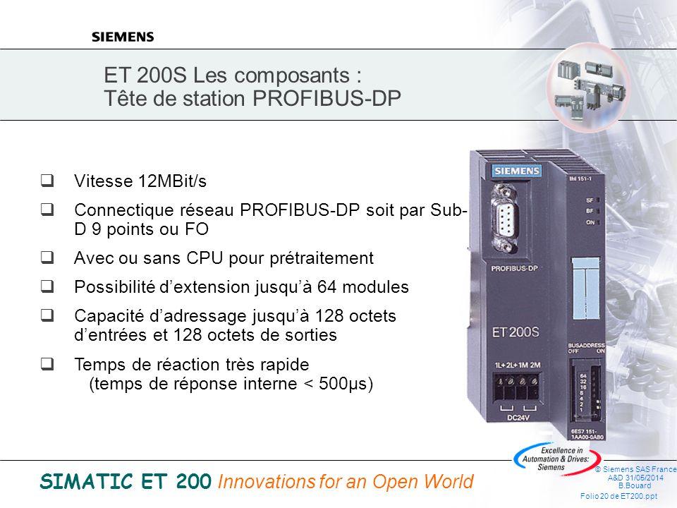 ET 200S Les composants : Tête de station PROFIBUS-DP