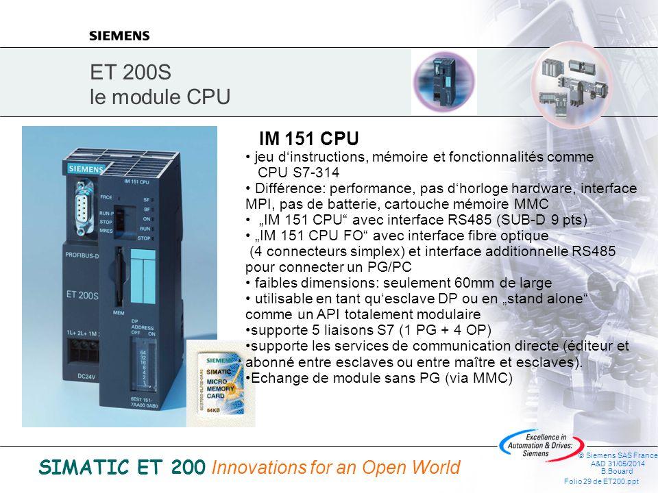 ET 200S le module CPU IM 151 CPU. jeu d'instructions, mémoire et fonctionnalités comme CPU S7-314.