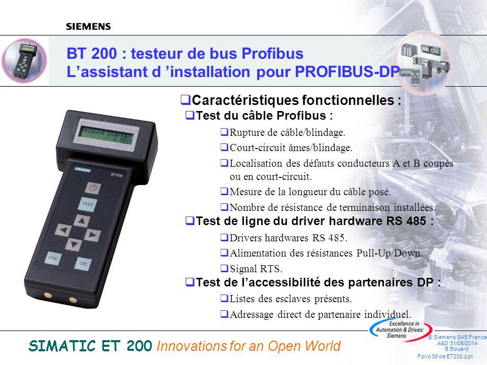 BT 200 : testeur de bus Profibus L'assistant d 'installation pour PROFIBUS-DP