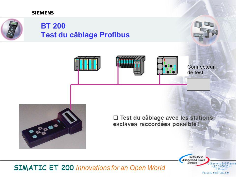 BT 200 Test du câblage Profibus