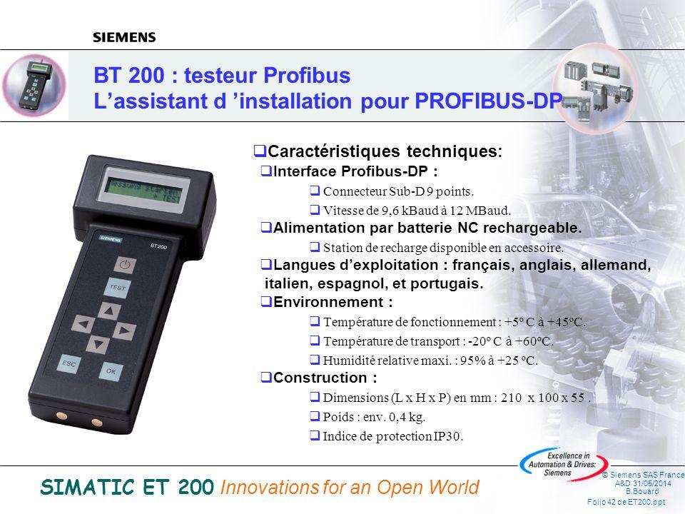 BT 200 : testeur Profibus L'assistant d 'installation pour PROFIBUS-DP