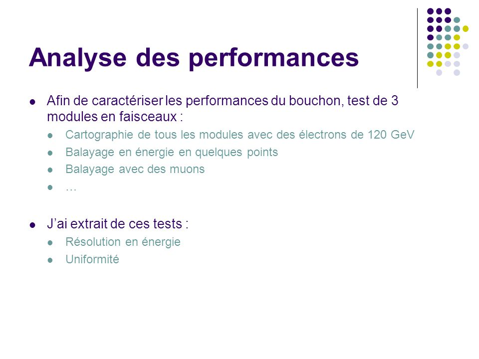Analyse des performances