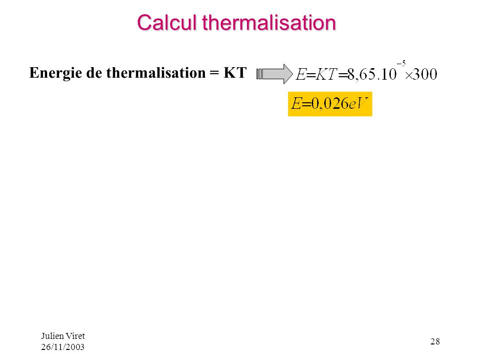 Calcul thermalisation