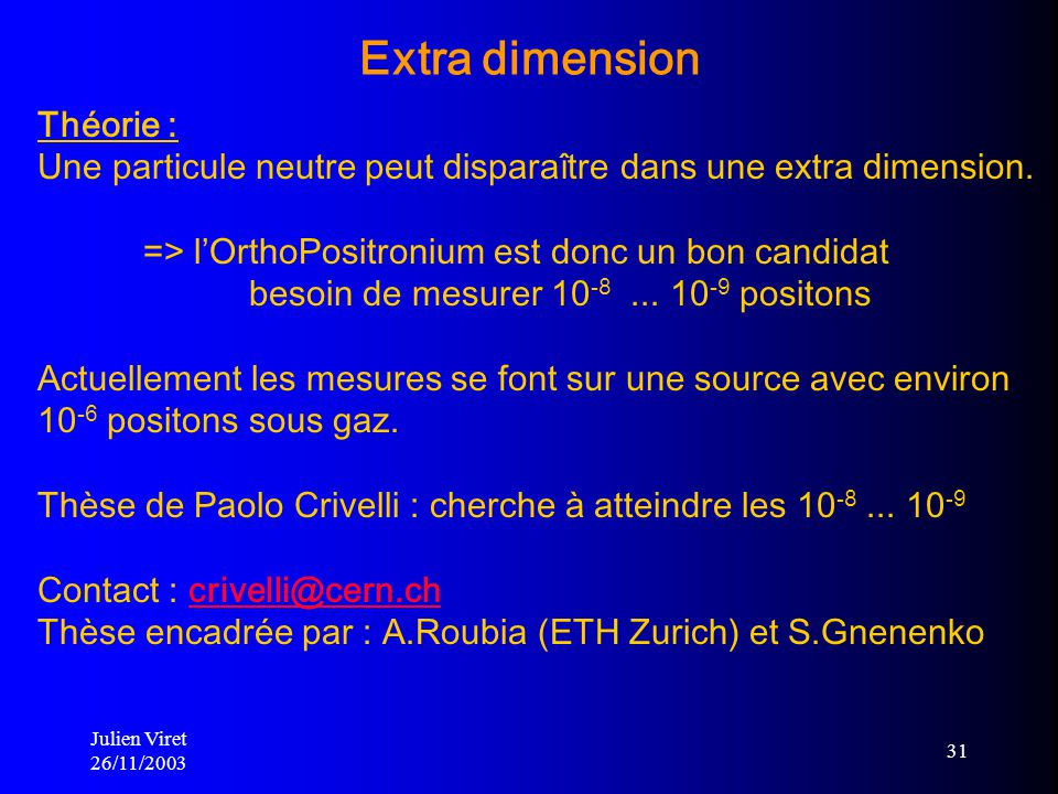 Extra dimension Théorie :