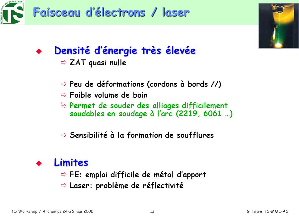 Faisceau d'électrons / laser
