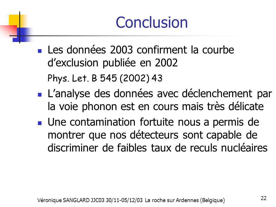 Conclusion Les données 2003 confirment la courbe d'exclusion publiée en 2002. Phys. Let. B 545 (2002) 43.