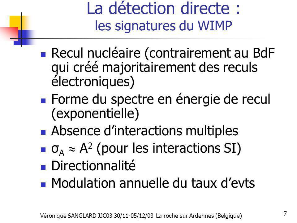 La détection directe : les signatures du WIMP