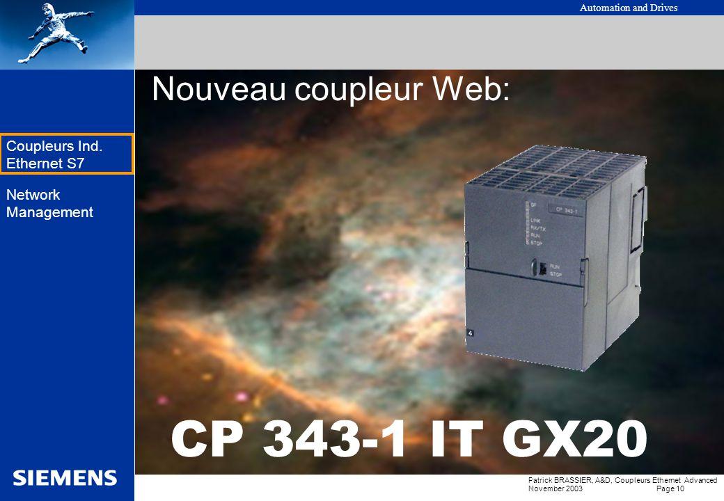 Nouveau coupleur Web: CP 343-1 IT GX20