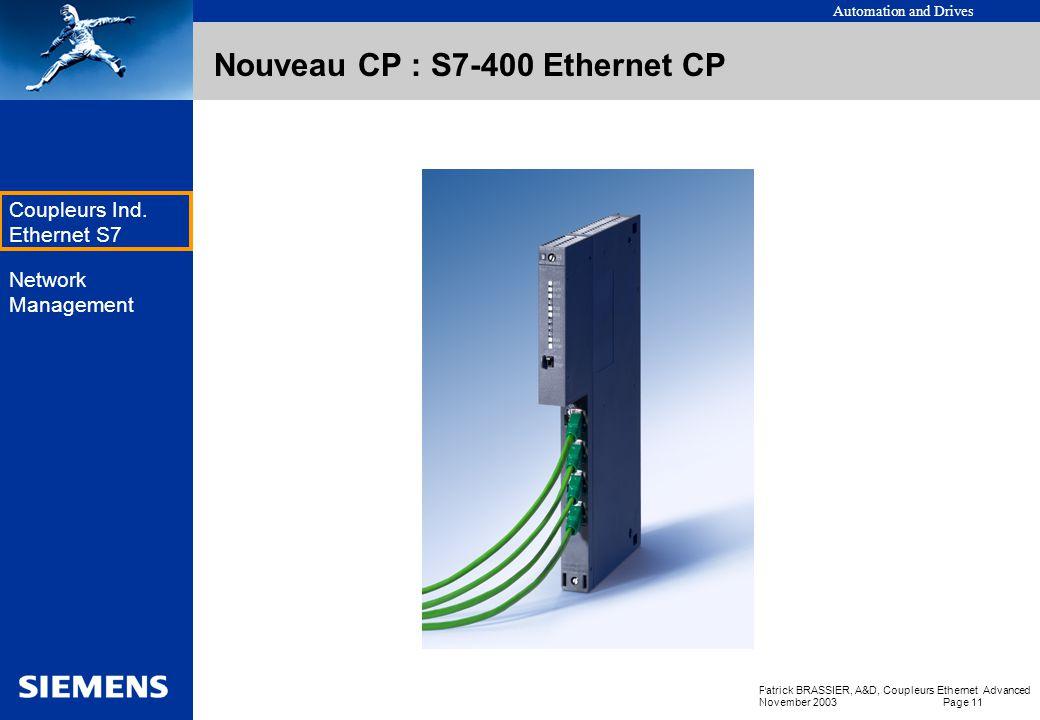Nouveau CP : S7-400 Ethernet CP