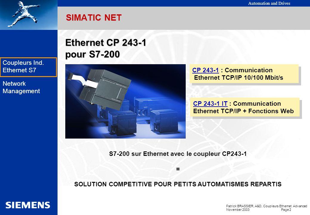 Ethernet CP 243-1 pour S7-200 SIMATIC NET