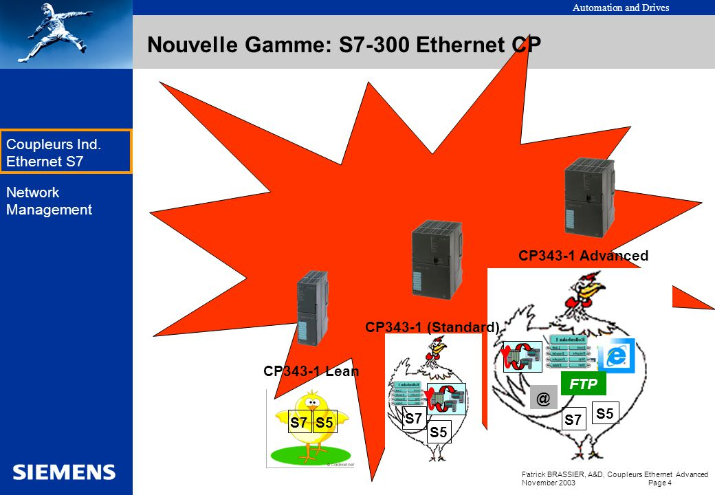 Nouvelle Gamme: S7-300 Ethernet CP