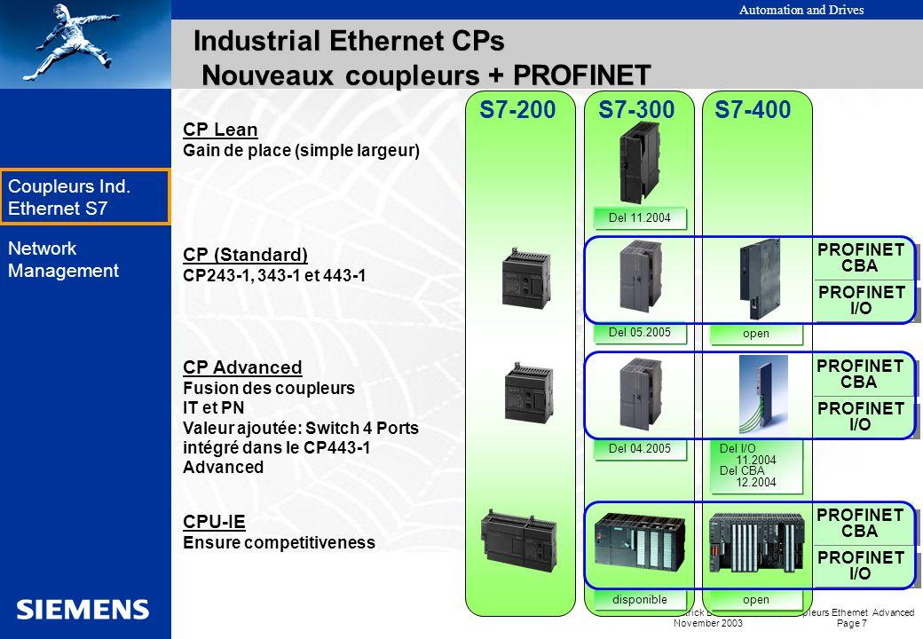 Industrial Ethernet CPs Nouveaux coupleurs + PROFINET