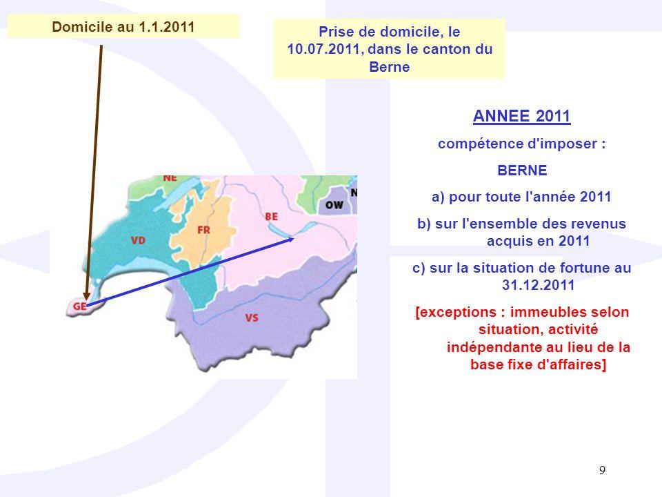 Domicile au 1.1.2011 Prise de domicile, le 10.07.2011, dans le canton du Berne. ANNEE 2011. compétence d imposer :