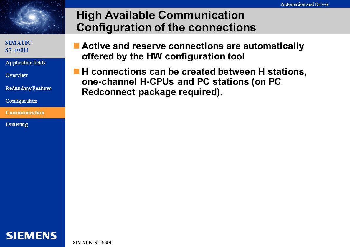High Available Communication Configuration of the connections