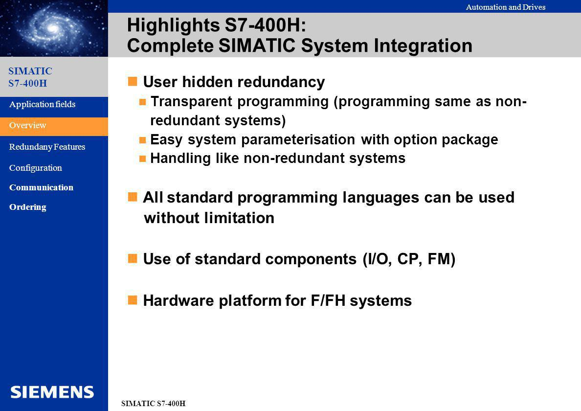 Highlights S7-400H: Complete SIMATIC System Integration