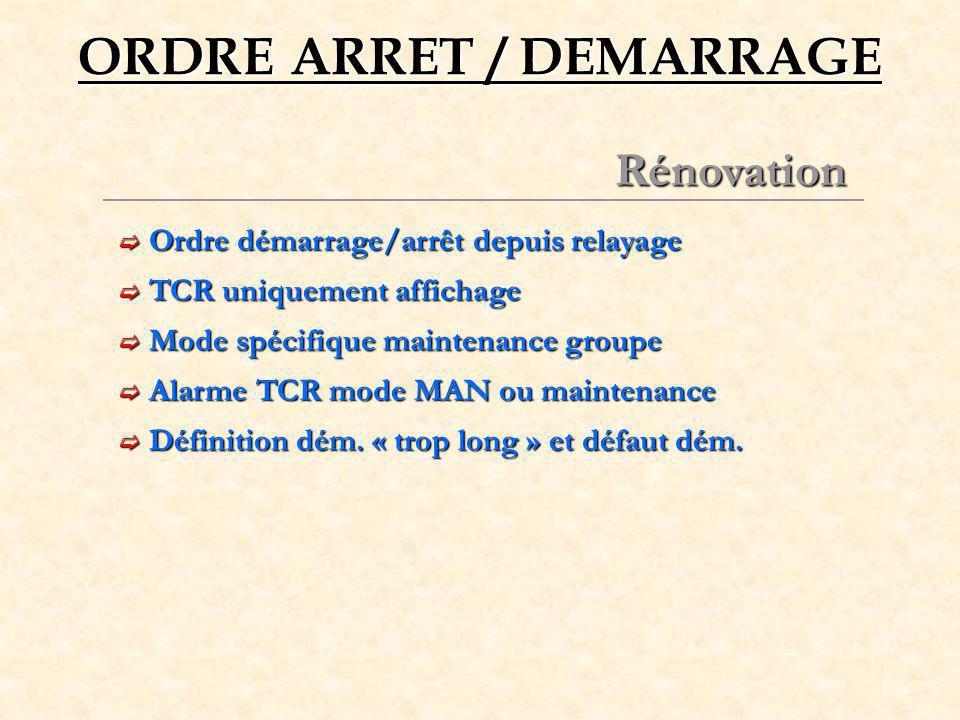 ORDRE ARRET / DEMARRAGE