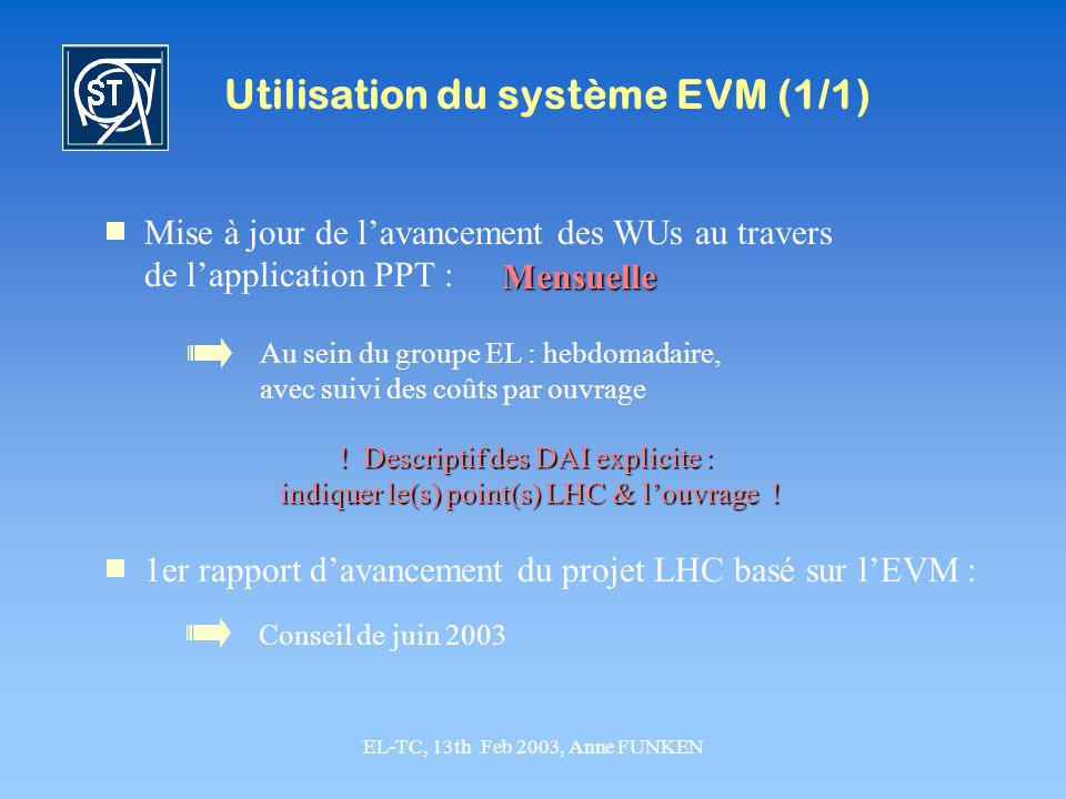 Utilisation du système EVM (1/1)