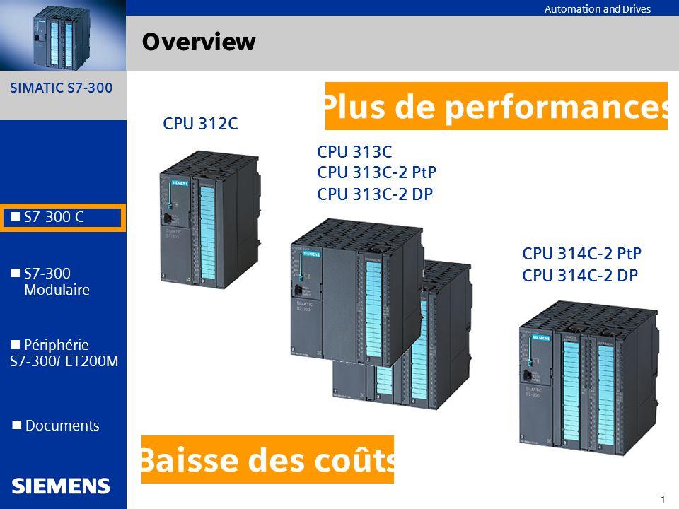 Plus de performances Baisse des coûts Overview CPU 312C