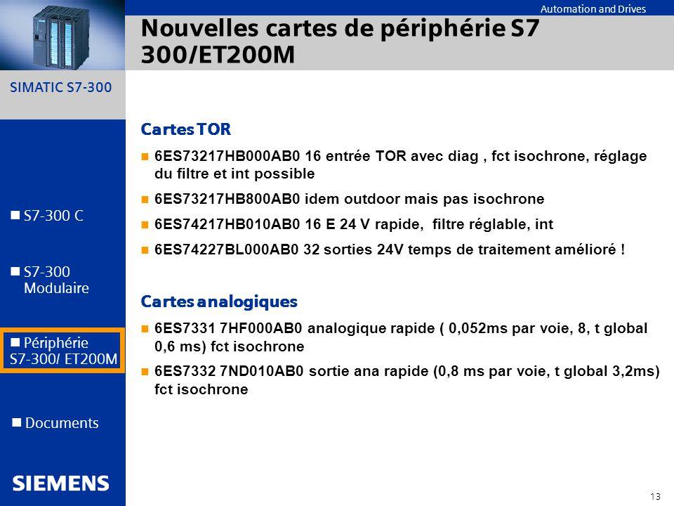 Nouvelles cartes de périphérie S7 300/ET200M