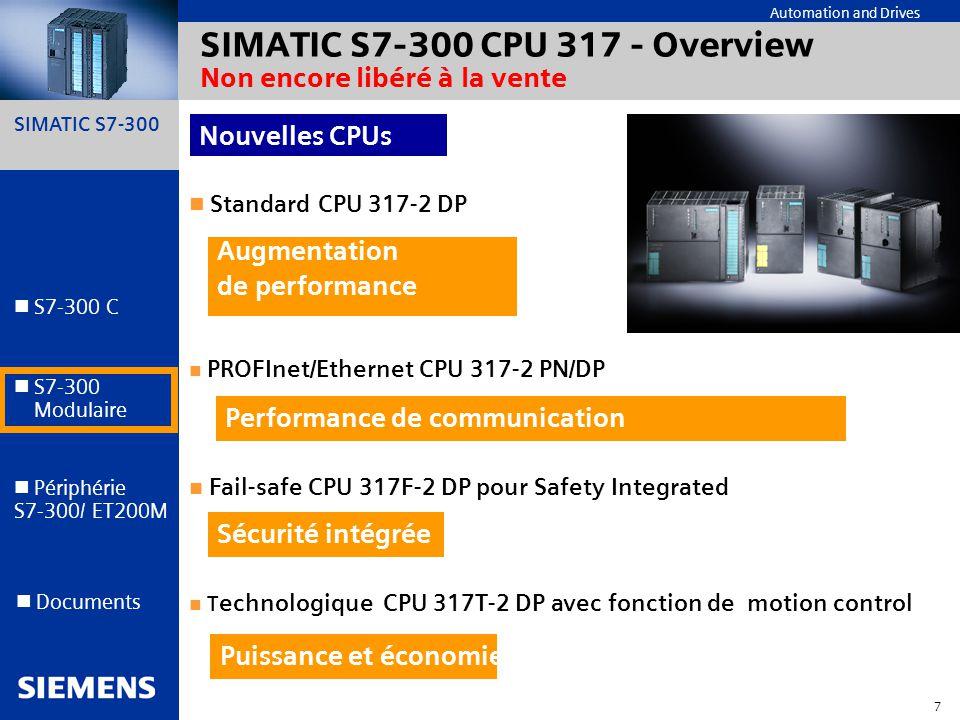 SIMATIC S7-300 CPU 317 - Overview Non encore libéré à la vente