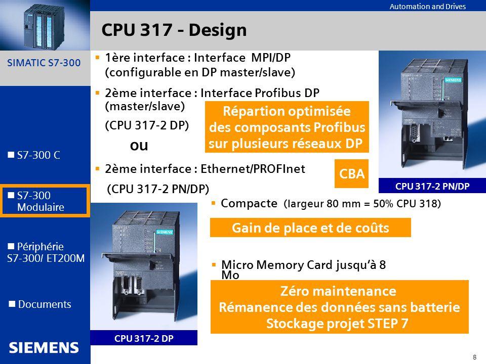 CPU 317 - Design ou Répartion optimisée des composants Profibus