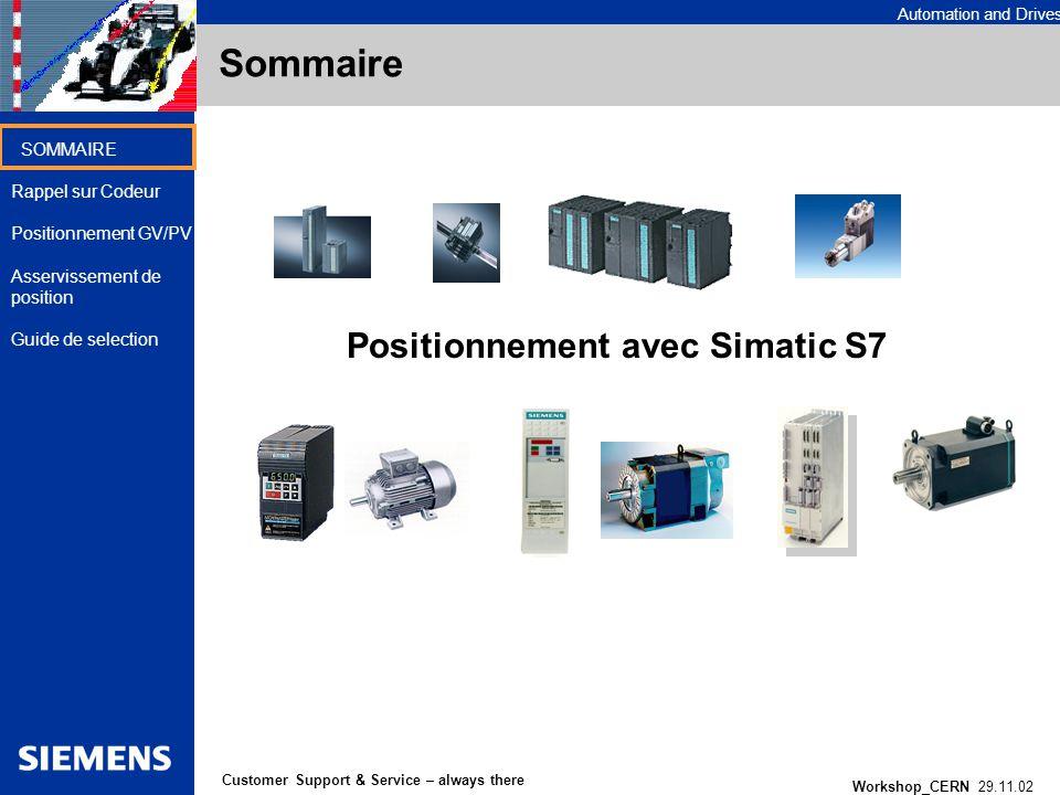 Sommaire Positionnement avec Simatic S7