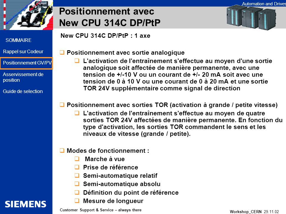Positionnement avec New CPU 314C DP/PtP