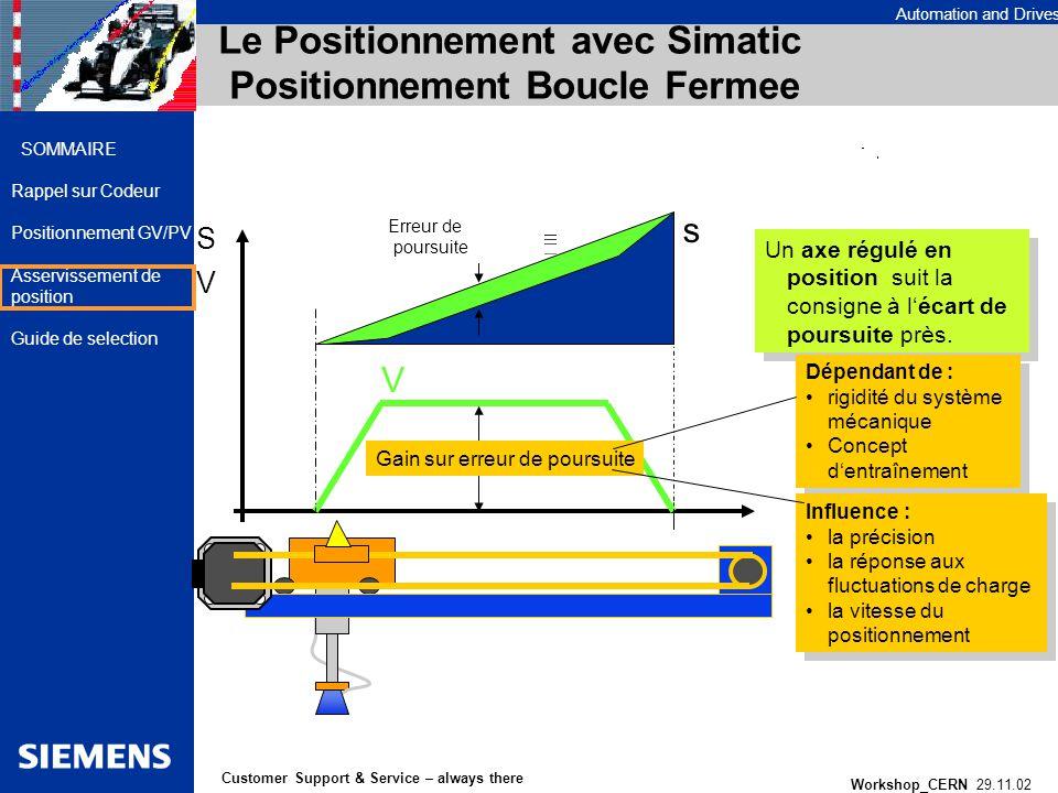 Le Positionnement avec Simatic Positionnement Boucle Fermee