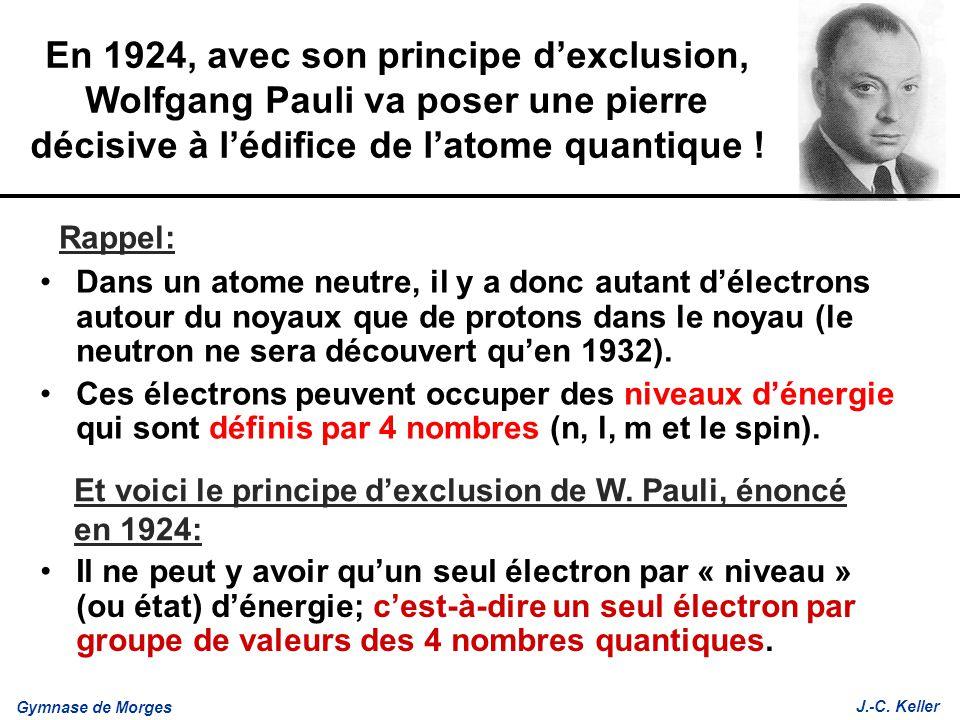 En 1924, avec son principe d'exclusion, Wolfgang Pauli va poser une pierre décisive à l'édifice de l'atome quantique !