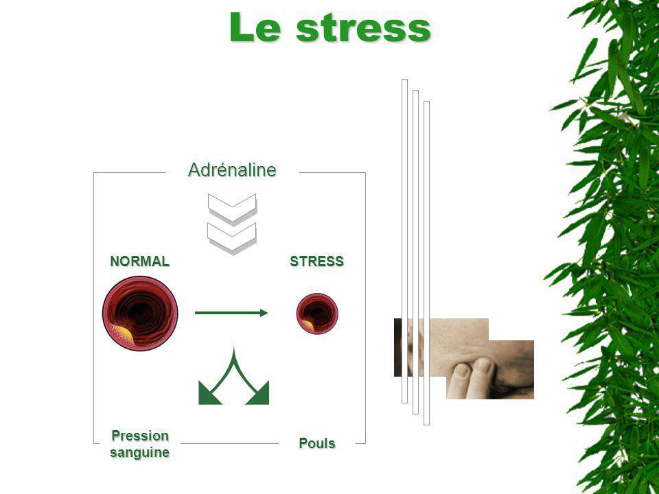 Le stress Adrénaline NORMAL STRESS Pression sanguine Pouls