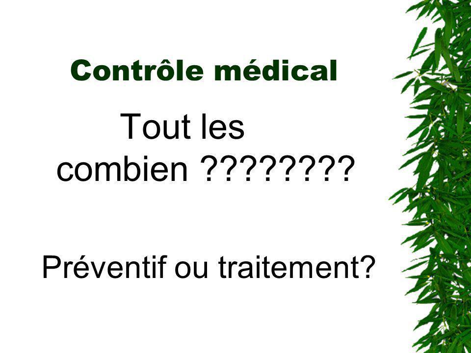 Contrôle médical Tout les combien Préventif ou traitement