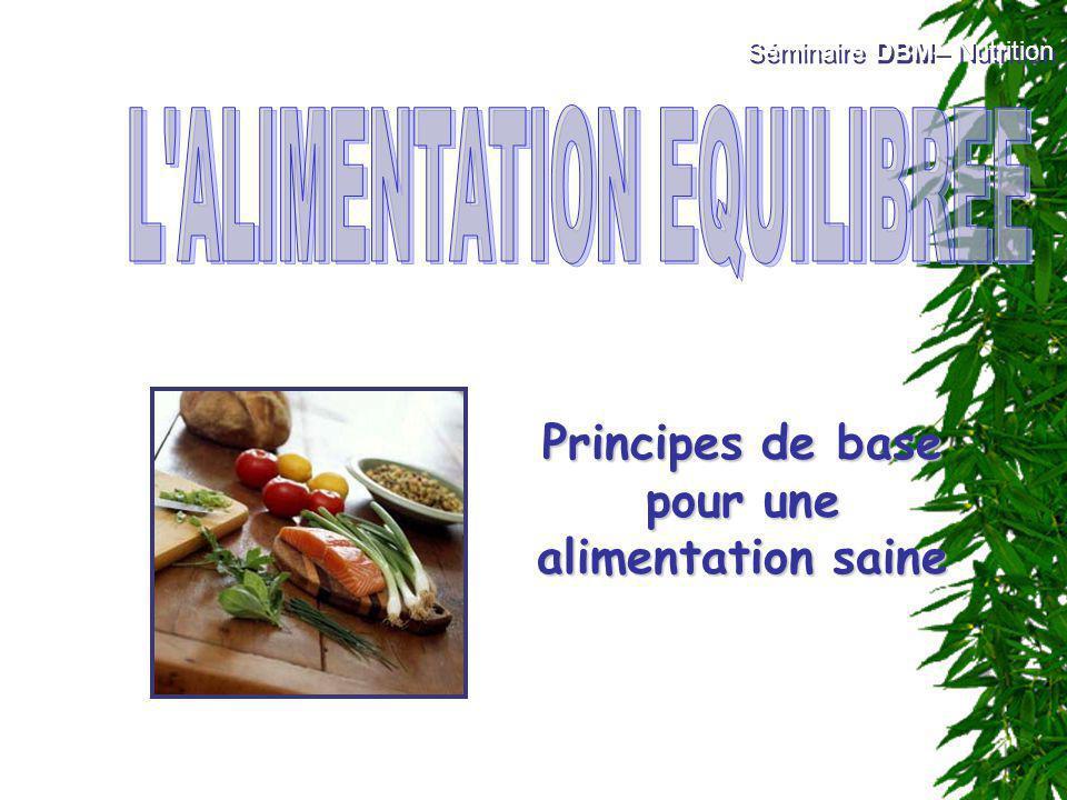 Principes de base pour une alimentation saine