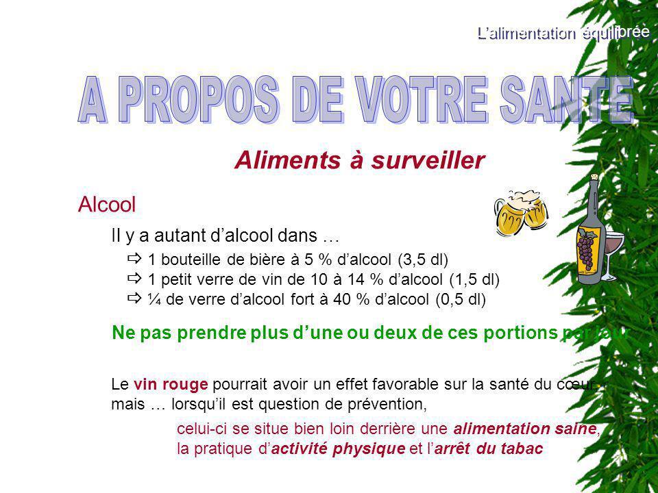 A PROPOS DE VOTRE SANTE Aliments à surveiller Alcool