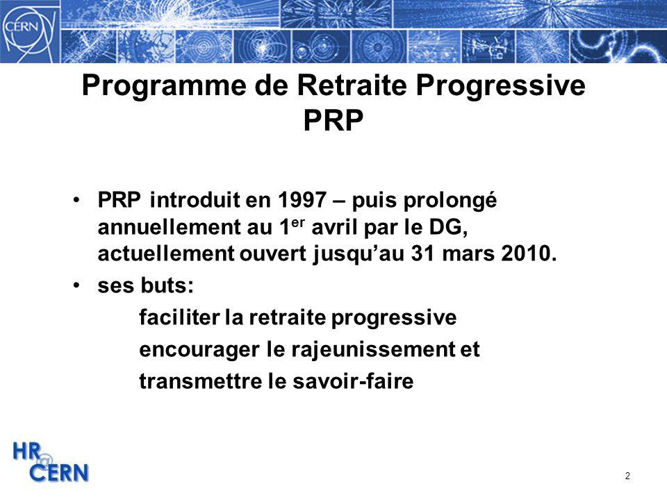 Programme de Retraite Progressive PRP