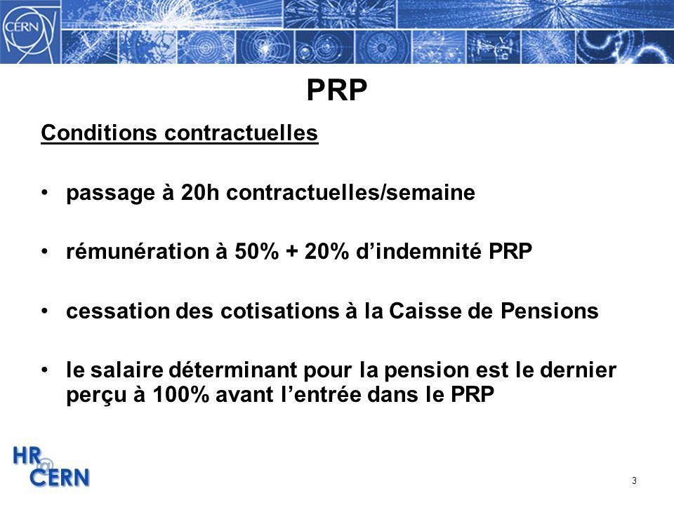 PRP Conditions contractuelles passage à 20h contractuelles/semaine