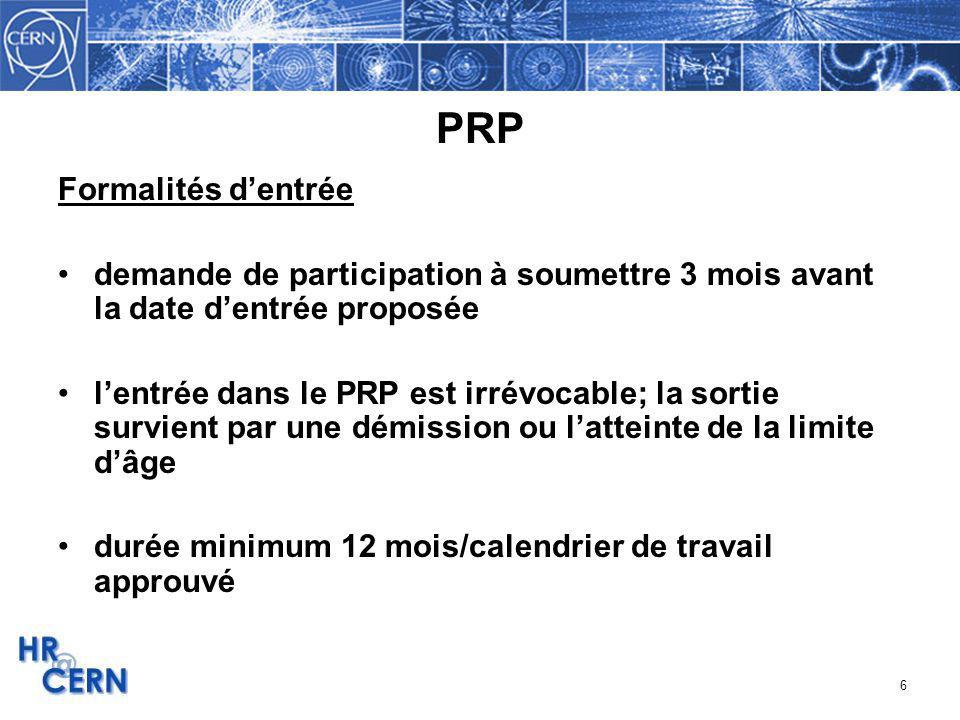 PRP Formalités d'entrée