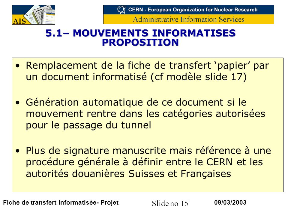 5.1– MOUVEMENTS INFORMATISES PROPOSITION