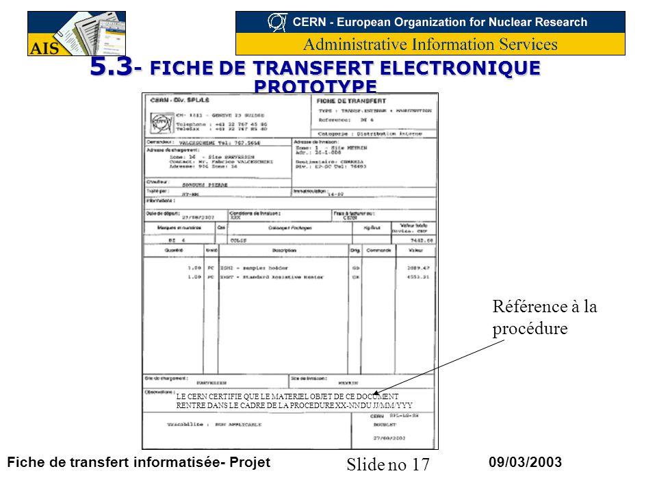 5.3- FICHE DE TRANSFERT ELECTRONIQUE PROTOTYPE
