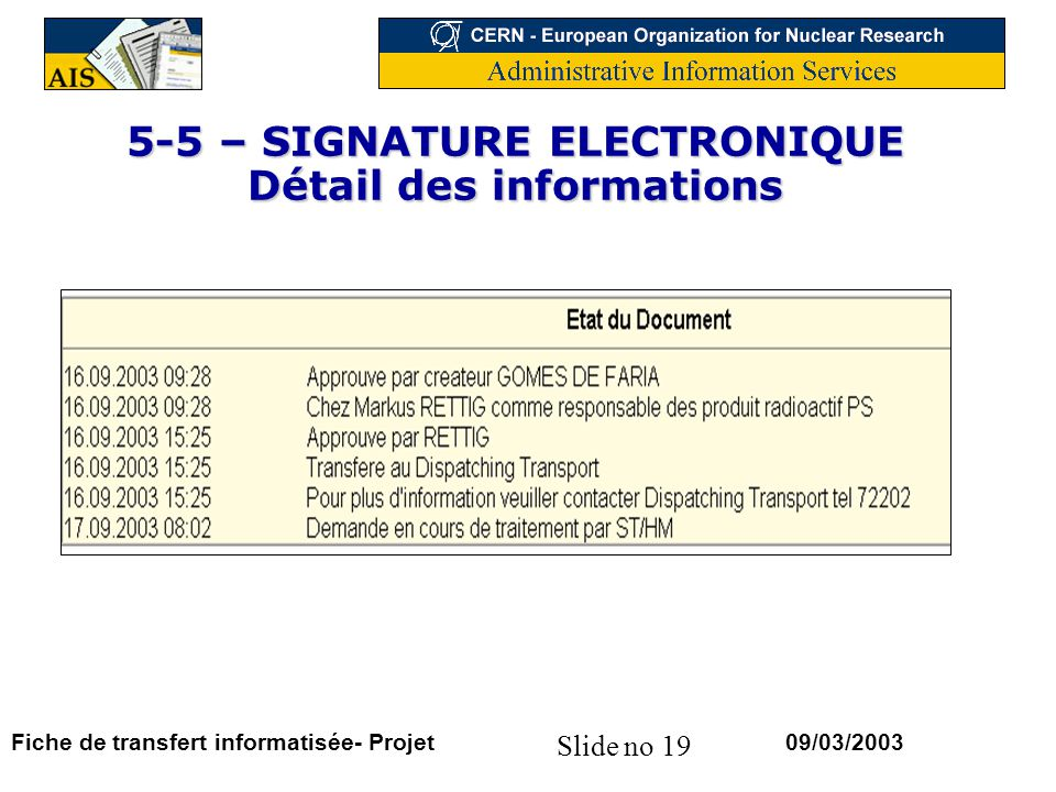 5-5 – SIGNATURE ELECTRONIQUE Détail des informations
