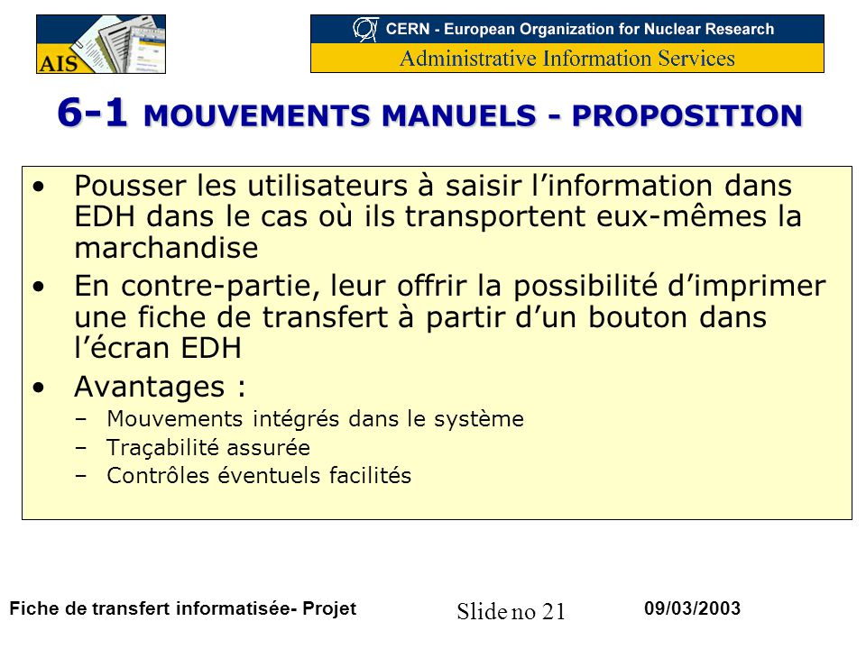 6-1 MOUVEMENTS MANUELS - PROPOSITION