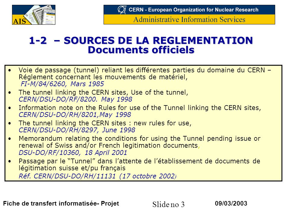 1-2 – SOURCES DE LA REGLEMENTATION Documents officiels