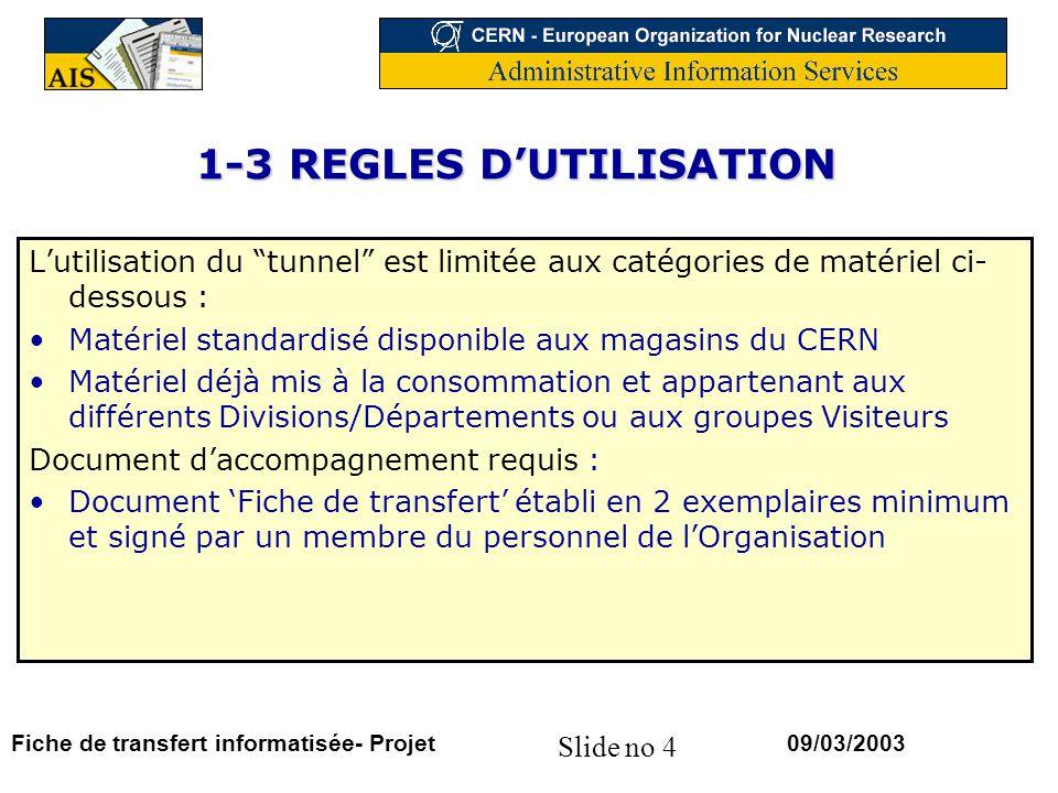 1-3 REGLES D'UTILISATION