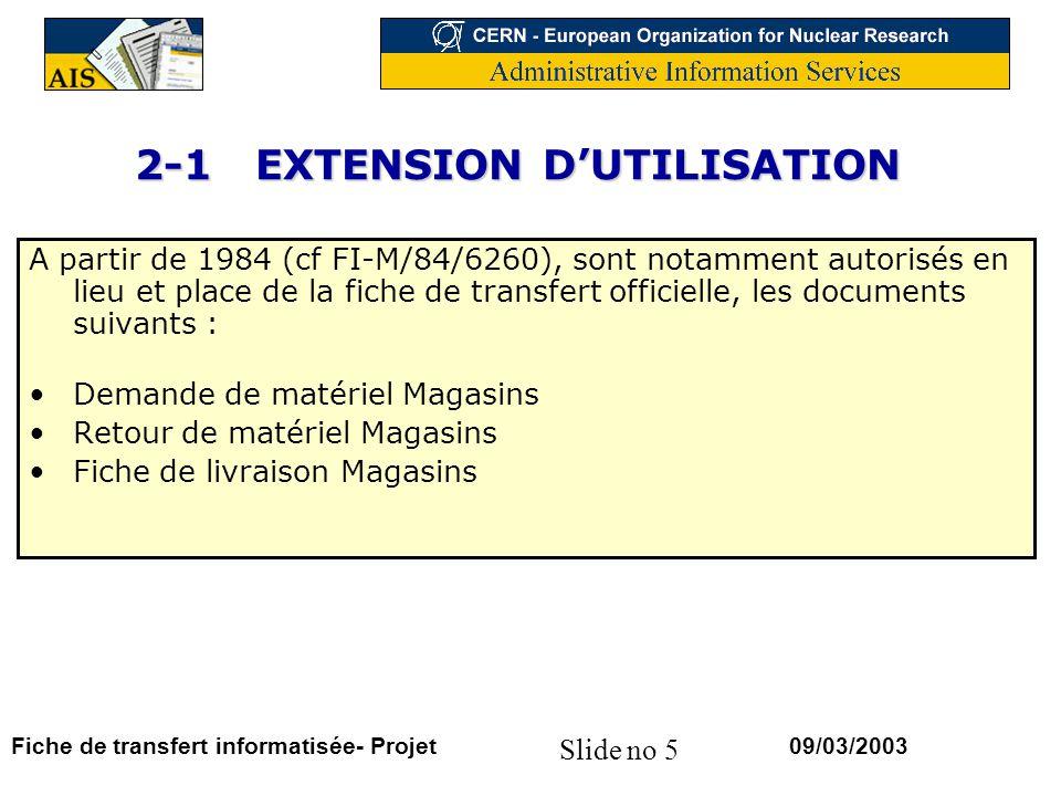 2-1 EXTENSION D'UTILISATION