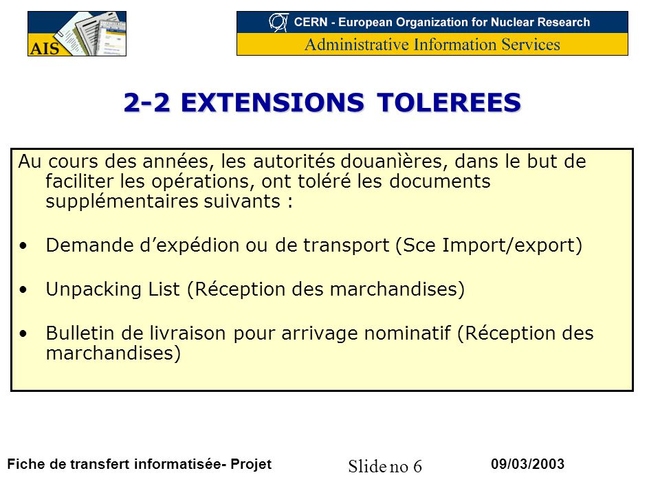 2-2 EXTENSIONS TOLEREES