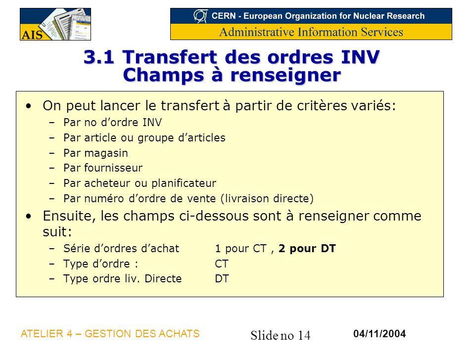 3.1 Transfert des ordres INV Champs à renseigner