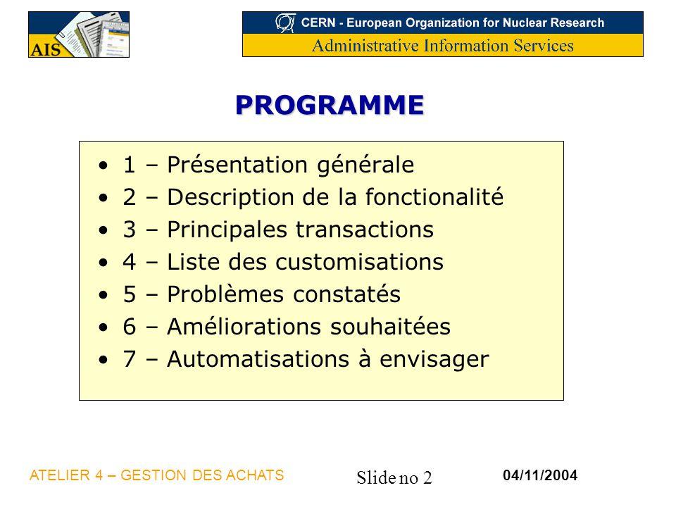 PROGRAMME 1 – Présentation générale