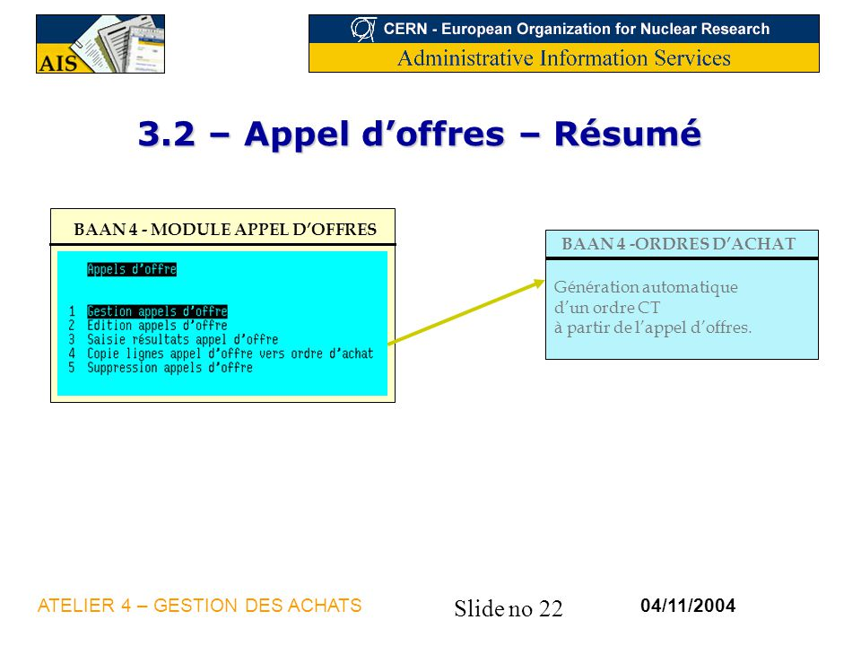3.2 – Appel d'offres – Résumé