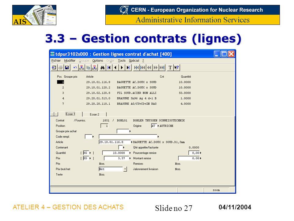 3.3 – Gestion contrats (lignes)