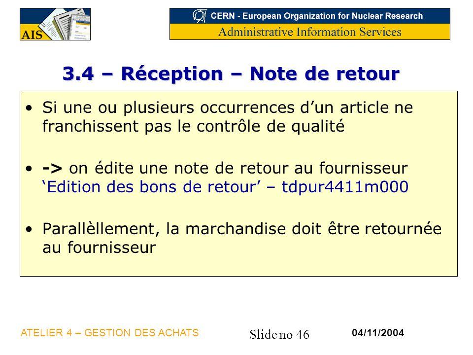 3.4 – Réception – Note de retour